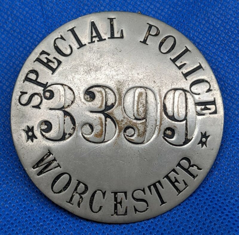 Antique Vintage Obsolete Worcester Mass Special Police Badge Massachusetts 1900s