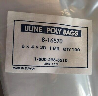 Uline Clear Gusseted Poly Bags 1 mil 6x4x20, 100 bags per Pack