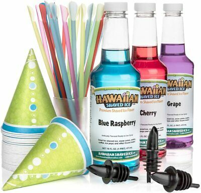 Hawaiian Shaved Ice Syrup 3 Pack With Accessories Cherry Grape Blue Raspberry