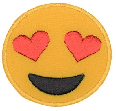 Emoji With Heart Eyes (Emoji Smiley Face With Heart-Eyes Patch (Iron)