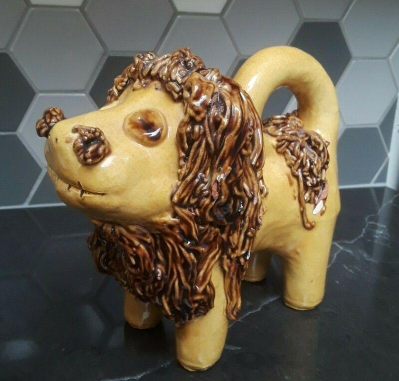 Vintage Lester Breininger Folk Art Redware Pottery Lion Sculpture