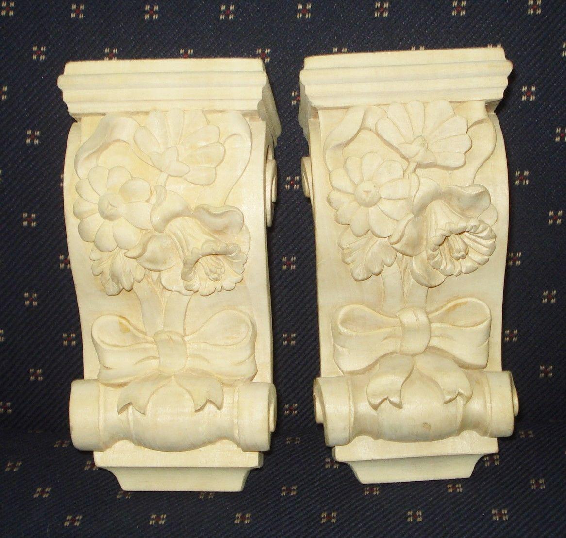 VINTAGE 2 FLOWERY PATTERN SOLID WOOD CORBELS FIGURINE BEAUTIFUL NR