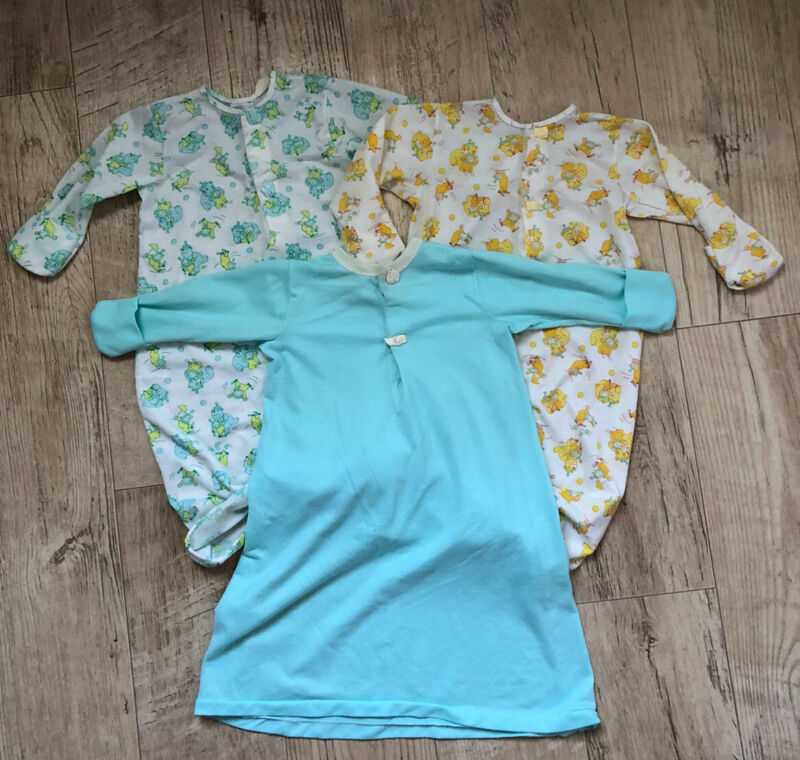 Vintage Carters Layette Infant Newborn Gown Sleeper Sack TEAL YELLOW CIRCUS USA