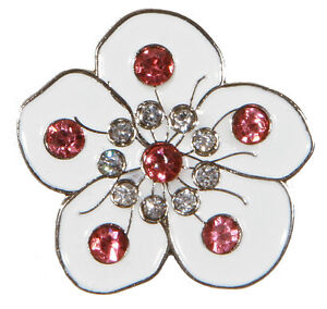 White-Flower-With-Crystals-Golf-Ball-Markers-Package-of-2
