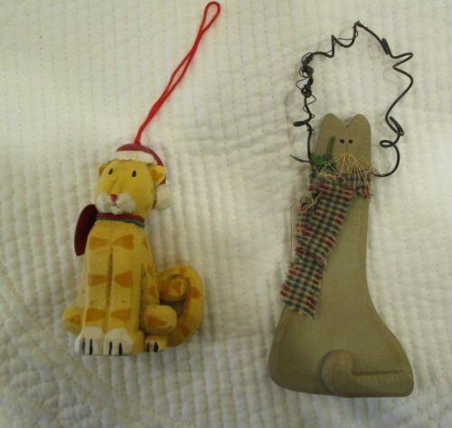 Primitive Christmas Wood & Composite CAT Ornaments