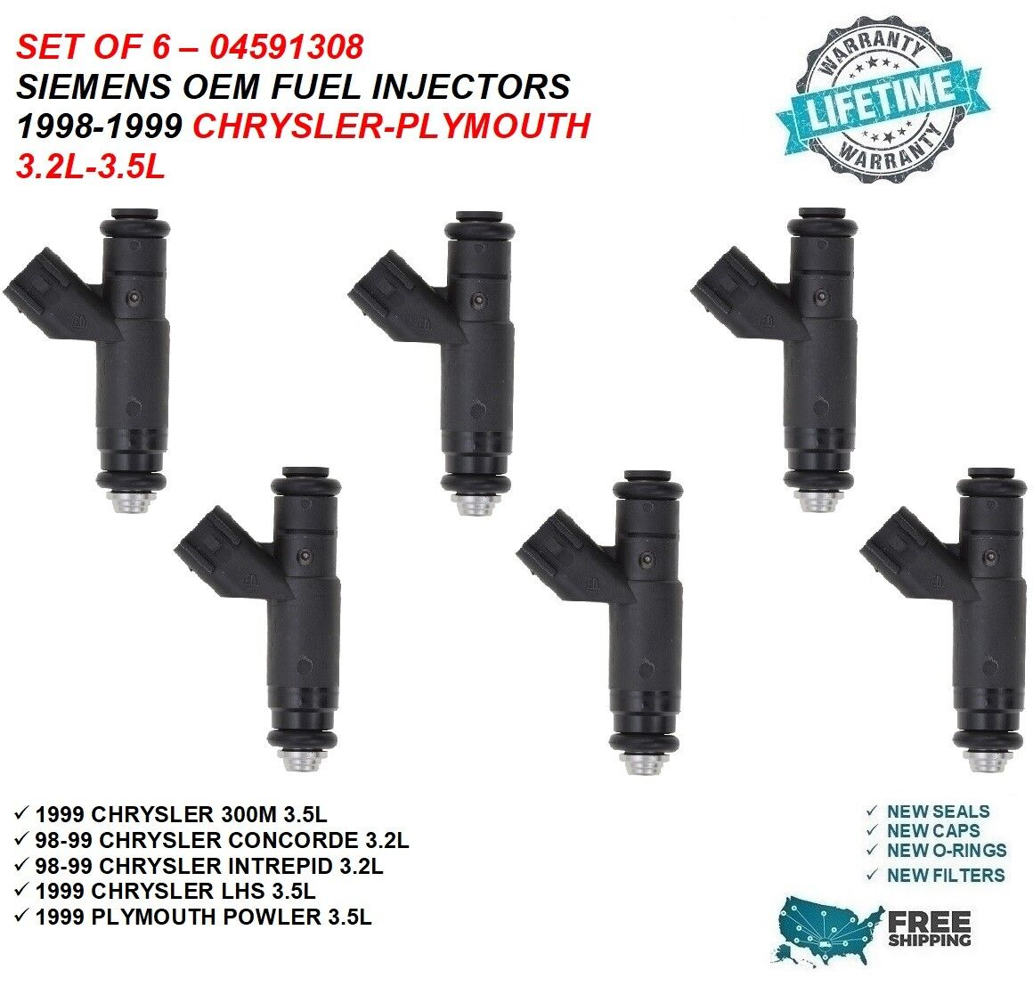 Genuine Siemens Set Of 6 Fuel Injectors For Plymouth Dodge Chrysler 3.2L 3.5L