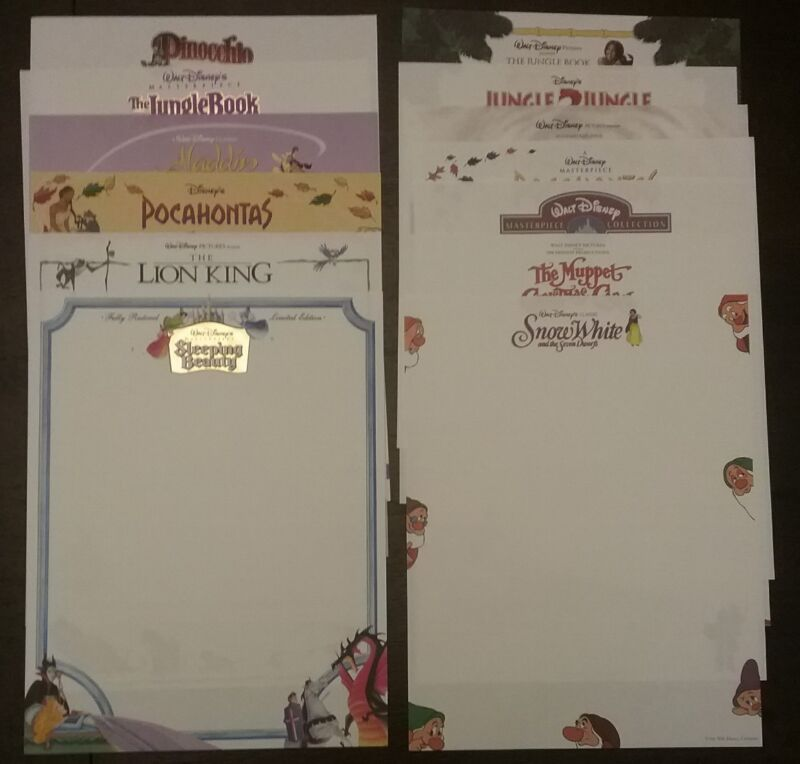 RARE WALT DISNEY STUDIOS ANIMATION OFFICIAL STATIONERY, 13 DIFFERENT, COLORFUL