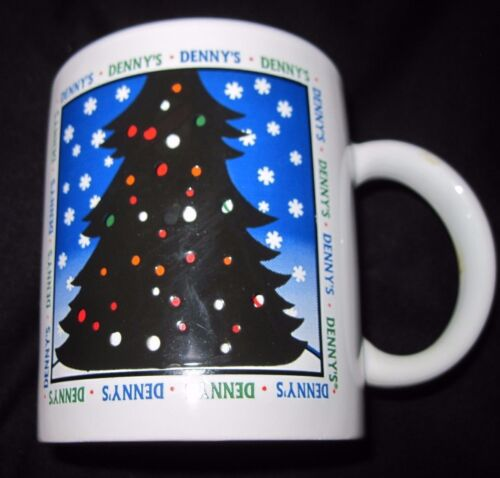 DENNY'S CHRISTMAS TREE Ceramic Coffee Mug Embossed/3-D Excellent Condition RARE
