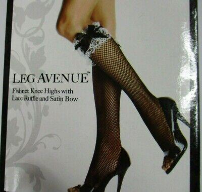 Leg Avenue Fishnet Knee Highs w Lace Ruffle Satin Bow Black French Maid OS New