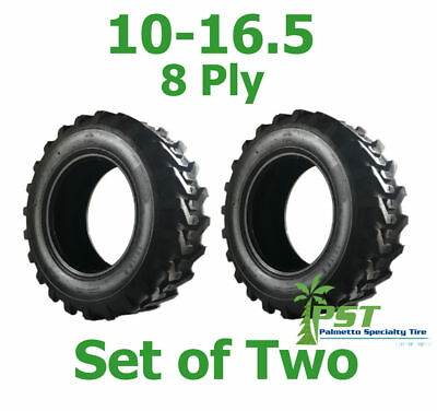 Set Of Two 10x16.5 Skid Steer Tire 10-16.5 Power King Ldr - Free Shipping