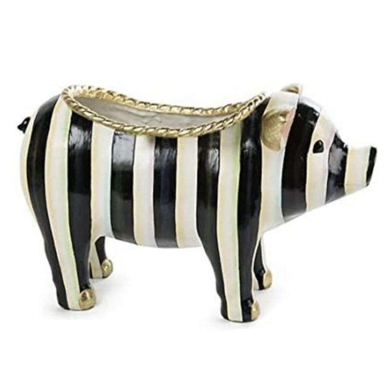 New MacKenzie-Childs Courtly Stripe Pig RETIRED