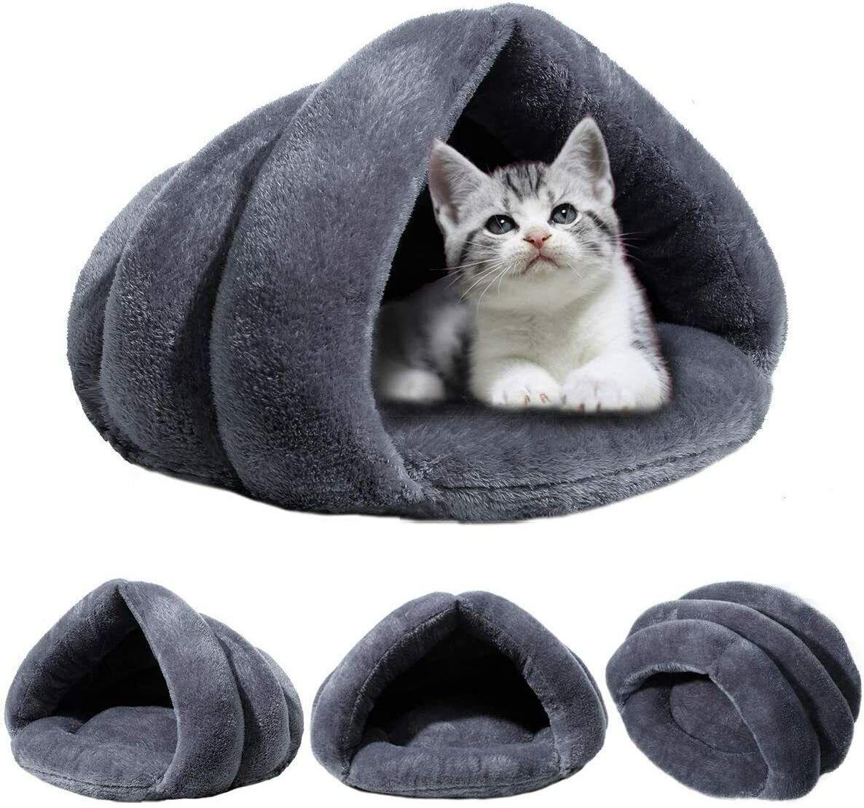 Pet Cat Dog Nest Bed Puppy Soft Warm Cave House Winter Sleeping Bag Mat Pad Gray - $19.99