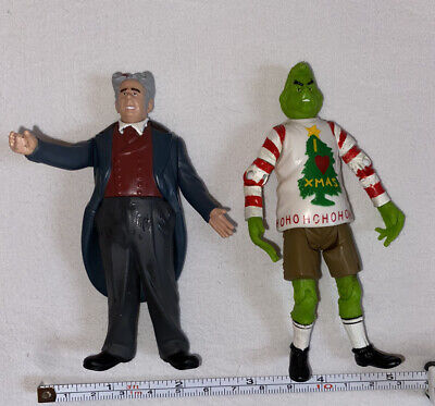 """2000 Playmates How The Grinch Stole Christmas 4"""" Grinch Ugly Sweater & Mayor"""