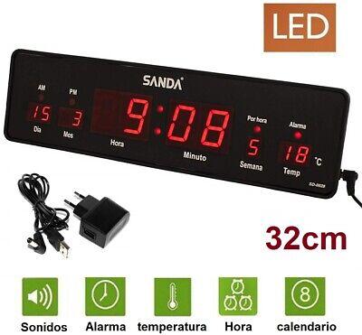 Reloj de Pared y mesa Digital Oficina Temperatura Calendario alarma 220V/SD0028