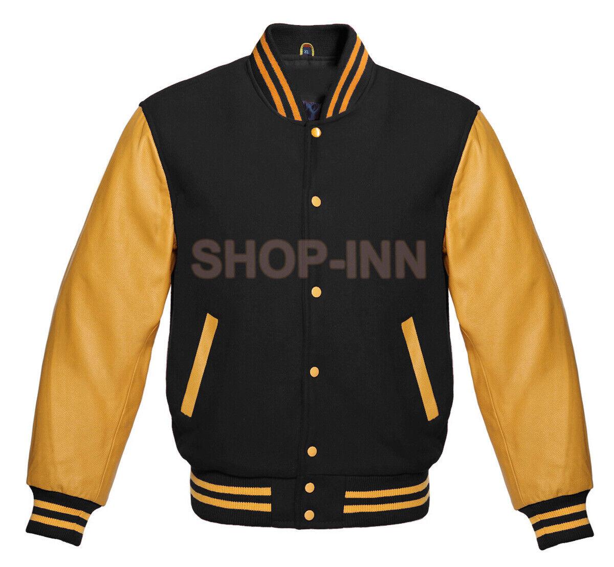 Varsity Black Letterman Baseball Wool and Gold Genuine Leath