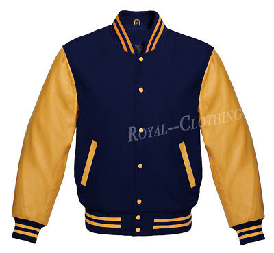 Letterman Varsity Navy Wool and Genuine Gold Leather Sleeves Jacket XS~7XL