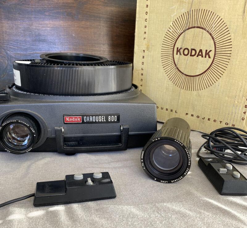 Kodak Carousel 800 Slide Projector w Remote, Carousel & 1 extra lens - Works EUC