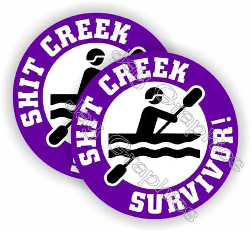$hit Creek Survivor Funny Hard Hat Stickers | Motorcycle Helmet Decals Up Creek