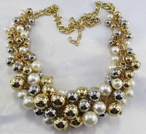 new design golden silver pearl Bib Statement neon Necklace #1: $ 35 JPG