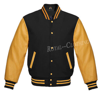 Letterman Bomber Varsity Jacket Black Wool and Genuine Gold Leather Sleeves