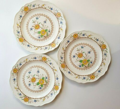 """Set of 3 Vintage STEUBENVILLE 9"""" Luncheon Plates; Yellow Floral Scalloped 1930"""
