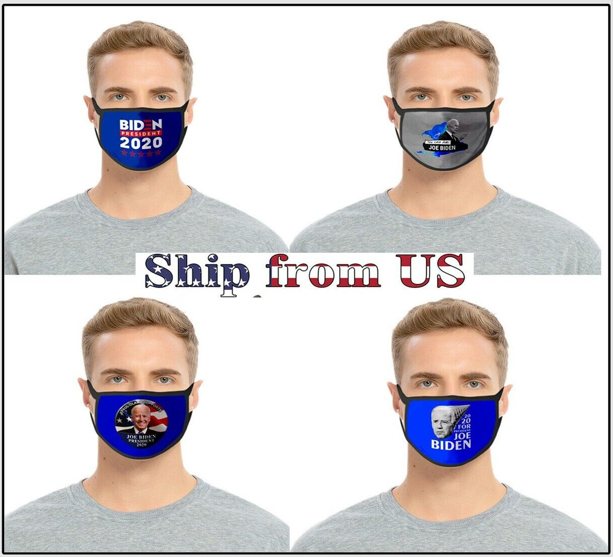 4pcs Joe Biden for President 2020 Election Campaign Cloth Face Masks Mouth Cover Accessories