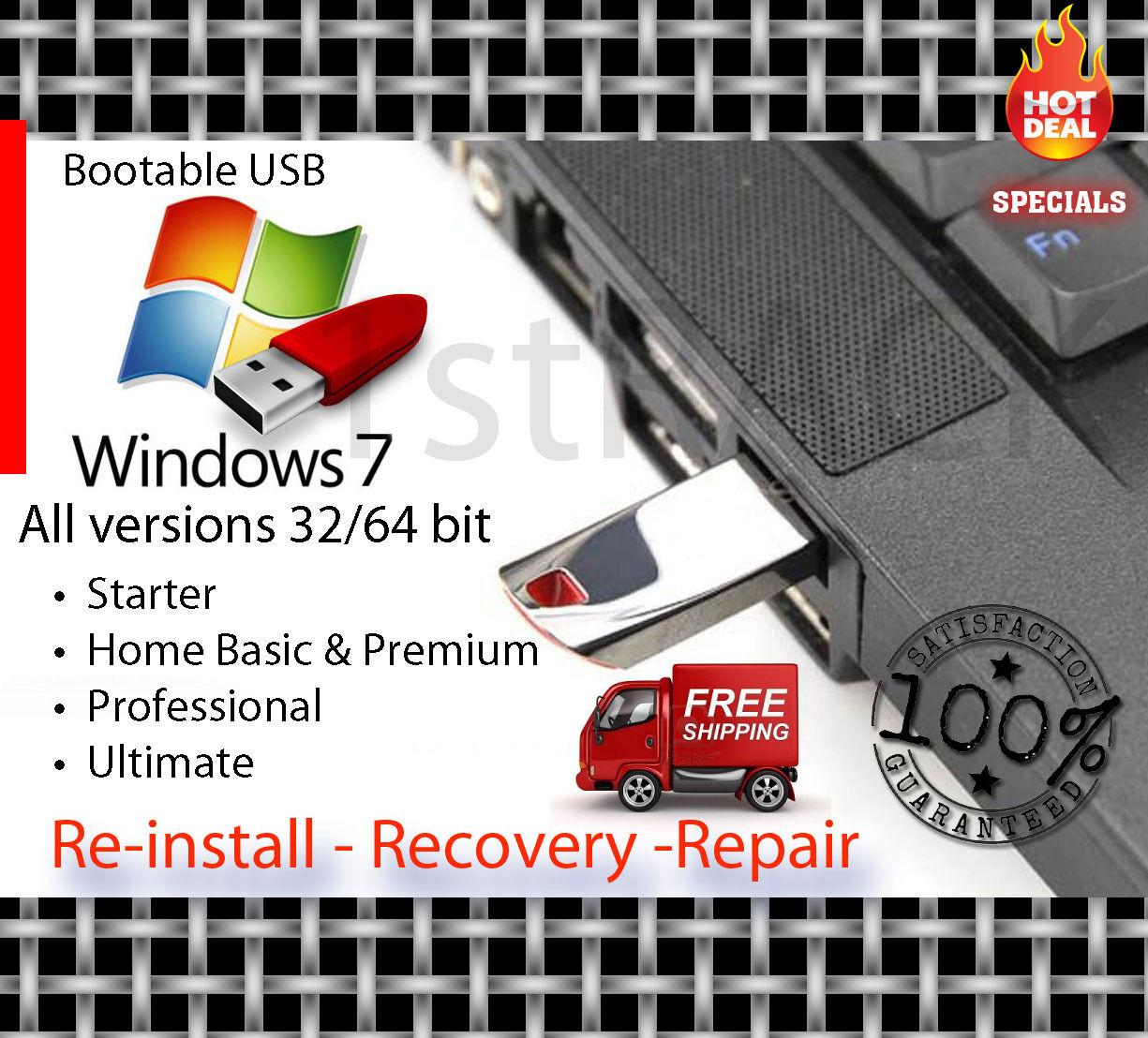 Microsoft Windows 7 ALL Versions 32-64BIT Reinstall Recovery USB Flash Drive & DVD W/HD