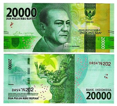 2016 Indonesia 20 000 Rupiah Uncirculated One Note