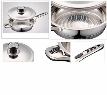 Royalty Line RL-F24 24cm Stainless Steel Fry Pan with Lid