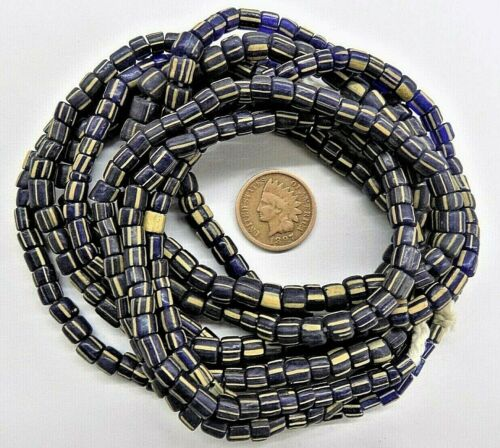 African Trade Beads  Striped Antique Cobalt Gooseberry Style  W4  1865 GB