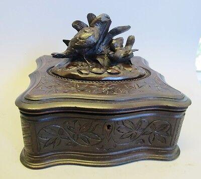 Large Antique German Black Forest Hand-Carved Box w/ Birds  c. 1900