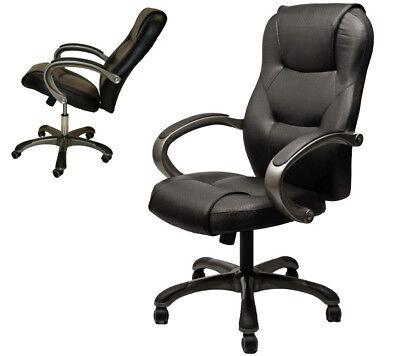 High Back Executive Top-grade Black Leatherette Ergonomic Computer Office Chair