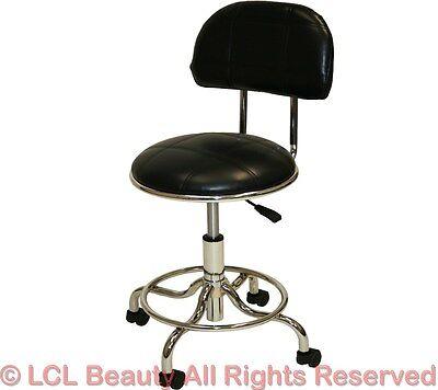 Black & Chrome Sturdy Foot Back Rest Stool Doctor Dentist Tattoo Salon Equipment