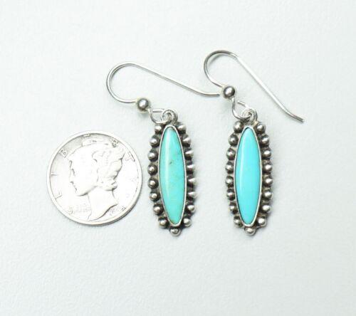 "Vintage Fred Harvey Era Dangle Earrings Sterling Silver Turquoise 1 1/2"" High"