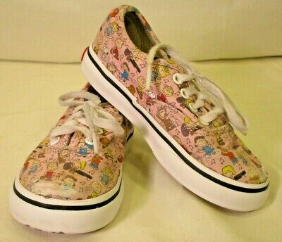Vans Off The Wall Peanuts Dance Party Pink Lace Up Shoes Kids Toddler Sz 7.5