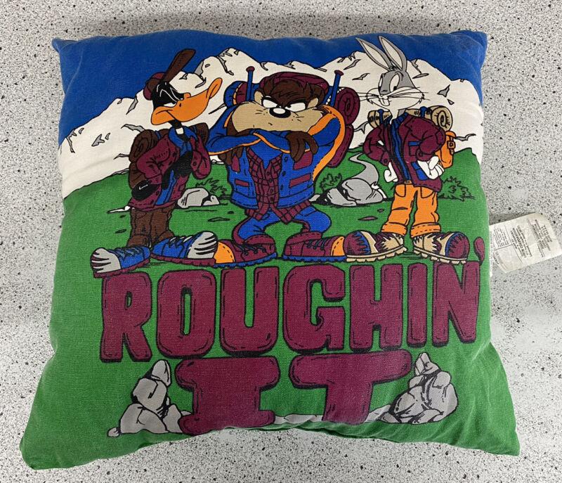 "Vintage 90s Looney Tunes Pillow Bugs Bunny Taz Daffy Duck Warner Bro 18"" Cushion"