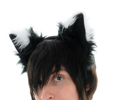 PAWSTAR Furry FOX Ears Headband Black White Puppy Dog Wolf costume [SHADOW]3060 - Fox Ear Costume