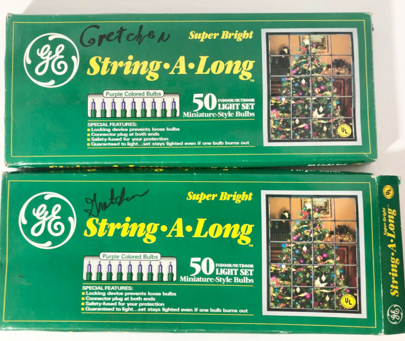 2 Boxes GE 50 Purple Miniature String A Long Bright Christmas Lights - Tested!