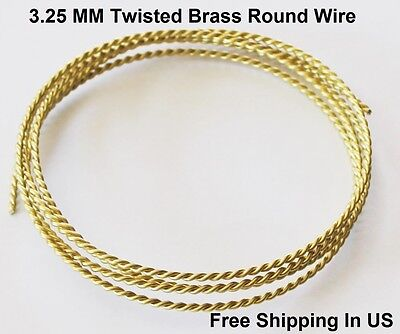 Brass Twisted Wire - 3.25 MM Yellow Brass Twisted Wire / 4 Ft. Coil - Solid Raw Yellow #260 brass
