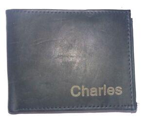 Personalized, Genuine Leather, Engraved Laser,Organizer Bifold Wallet Men's