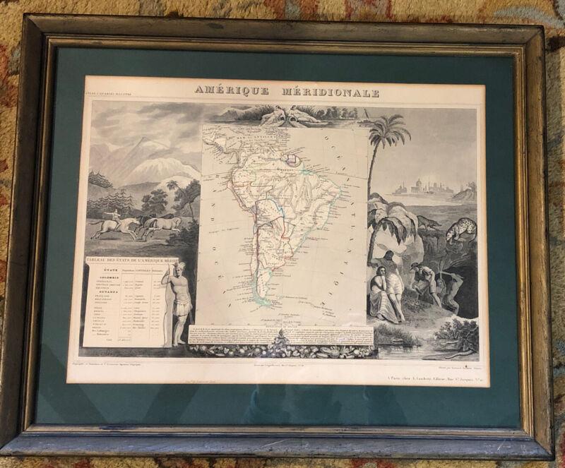 South America Map Amerique Meridionale 1852 Levasseur Paris Antique Original