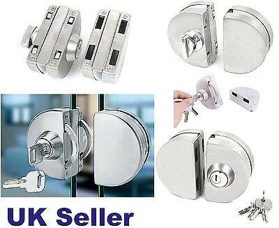 12mm Glass Door Lock Durable Stainless Steel Double Bolts Swing Push Sliding