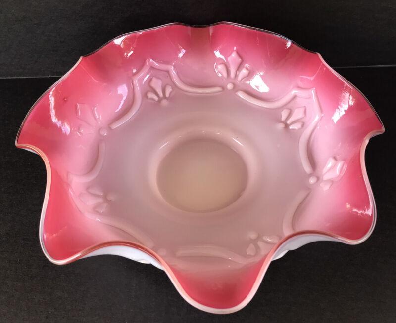 "Antique Victorian Brides Basket Glass Bowl Cranberry Pink White Cased Glass 12"""