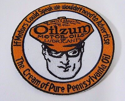"""OILZUM Motor Oil Embroidered Iron On Uniform-Jacket Patch 3.5"""" Disc"""