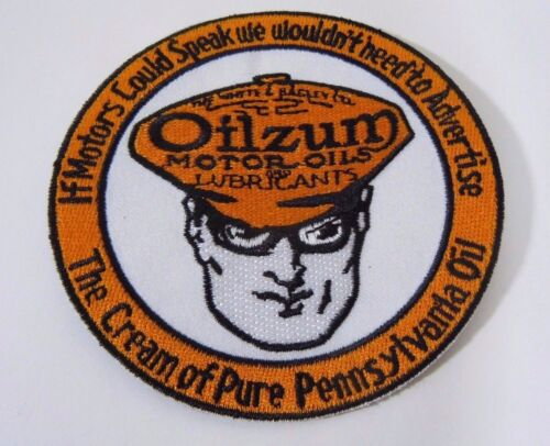 "OILZUM Motor Oil Embroidered Iron On Uniform-Jacket Patch 3.5"" Disc"