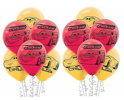 (12ct) Disney Pixar Cars 3 Mix Colors Birthday Latex Balloons Party Supplies - Cars Birthday Balloons