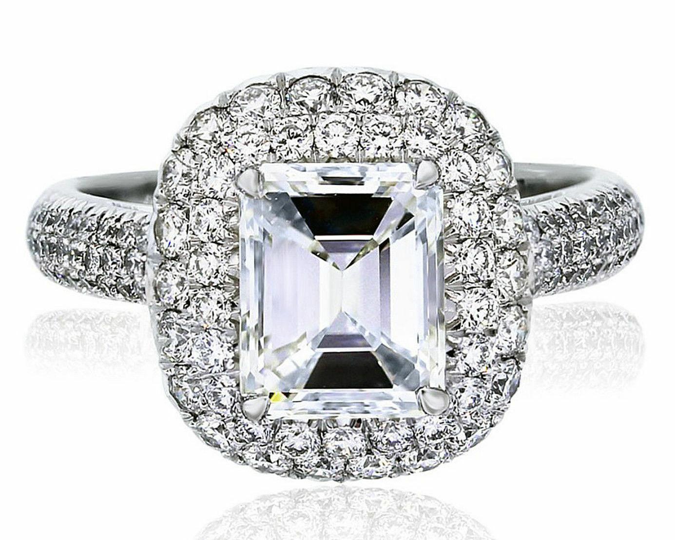 GIA Certified Diamond Engagement Halo Ring 5.25 carat Emerald & Round Cut 18k