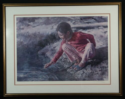 "Wai Ming Signed ""fishgirl With Stick"" Lithograph Le 1976 Well Framed"