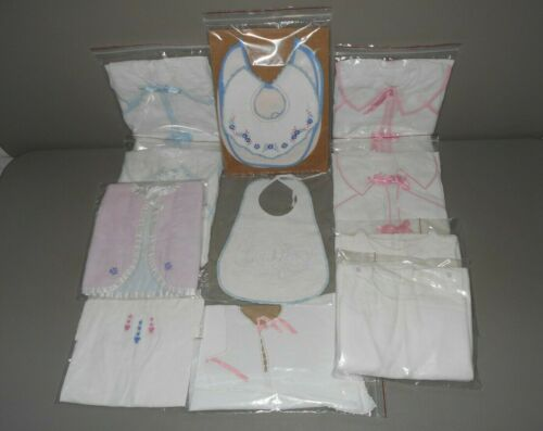 Antique Baby Layette Clothes Infant Robes Embroidered Bibs Flannel Jackets Shirt