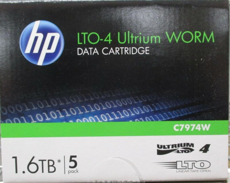 ***Brand New*** 5 Pack Box HP LTO-4 Ultrium RW 1.6TB Data Cartridge C7974A